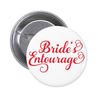 Comitiva de las novias, diseño rojo del texto para pins