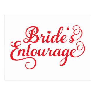 Comitiva de las novias, diseño rojo del texto para postales