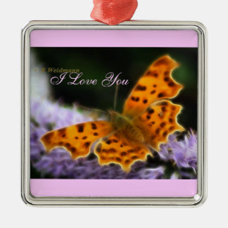 Comma Butterfly  (Polygonia c-album) Metal Ornament