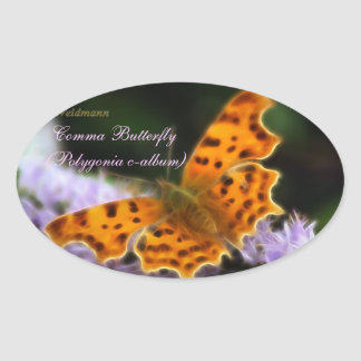 Comma Butterfly  (Polygonia c-album) Oval Sticker