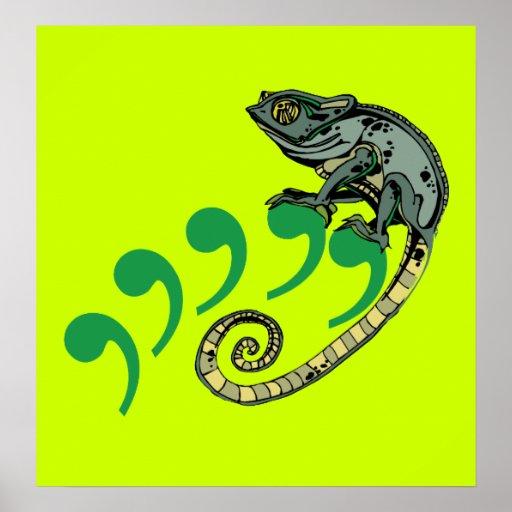 Comma Chameleon Poster $24.95