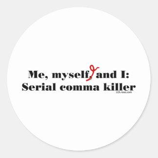 Comma Killer Round Stickers