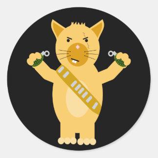 Commando Hamster Classic Round Sticker