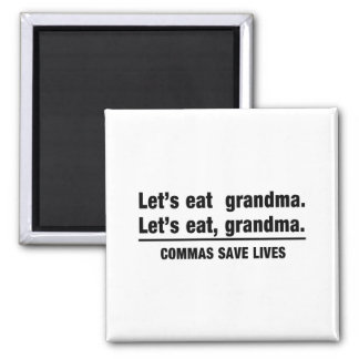 Commas Save Grandmas 2 Inch Square Magnet