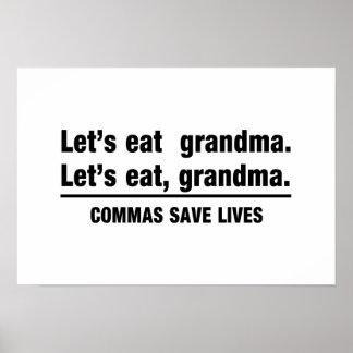Commas Save Grandmas Poster