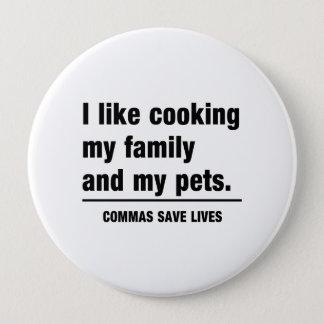 Commas Save Lives Button