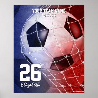 Commemorate girls' soccer team red white blue poster