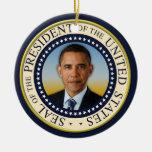 Commemorative 45th President Barack Obama Double-Sided Ceramic Round Christmas Ornament