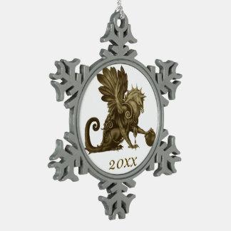 Commemorative Golden Gryphon Snowflake Snowflake Pewter Christmas Ornament