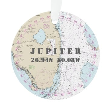 Beach Themed Commemorative Photo Nautical 2-Sided Jupiter FL Ornament