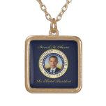 Commemorative President Barack Obama Re-Election Square Pendant Necklace