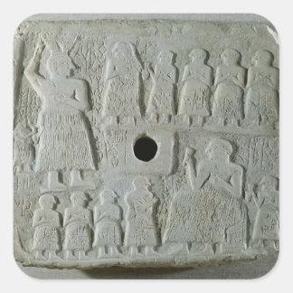 Commemorative relief square sticker