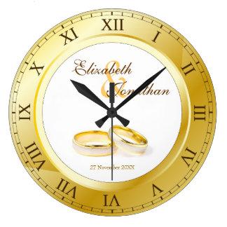 Commemorative Wedding Gold Roman Numerals Photo Wall Clocks