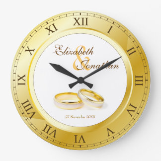 Commemorative Wedding Gold Roman Numerals Photo Large Clock