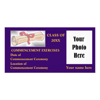 Commencement Announcement - Navy Blue - Gold Photo Greeting Card