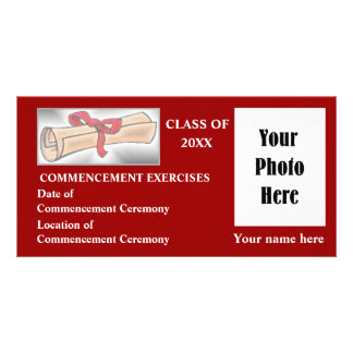Commencement Announcement - Red Picture Card
