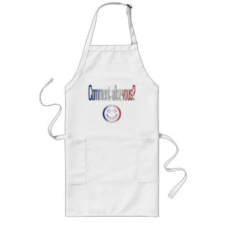 Comment Allez-Vous? French Flag Colors Long Apron