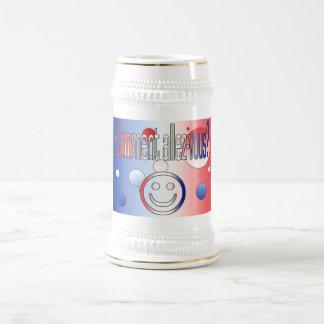 Comment Allez-Vous? French Flag Colors Pop Art Beer Stein