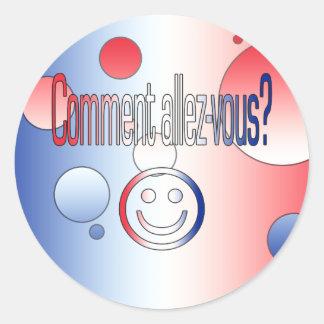 Comment Allez-Vous? French Flag Colors Pop Art Classic Round Sticker