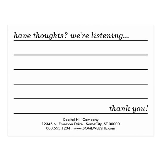 restaurant comments card template
