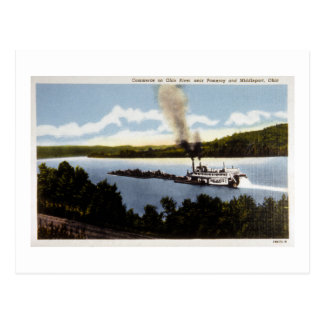 Commerce on Ohio River Postcard