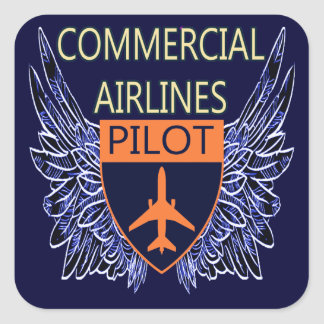 Commercial Airlines Pilot Square Stickers