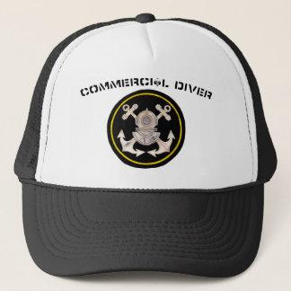 Commercial Diver Helmet and Crossbone Anchors Trucker Hat