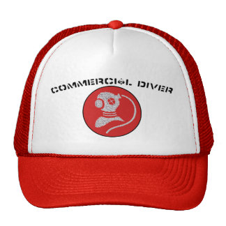 Commercial Diver Patch hat- red patch Trucker Hat