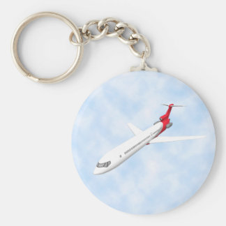 Commercial Jet Airplane: 3D Model: Basic Round Button Keychain