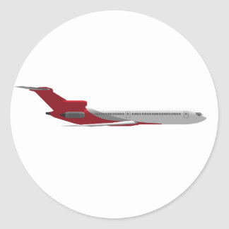 Commercial Jet Airplane: 3D Model: Classic Round Sticker