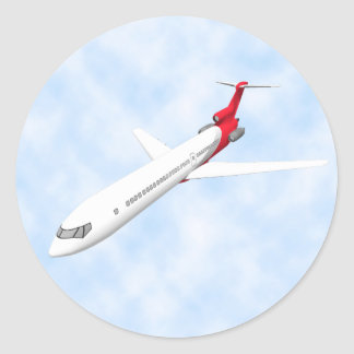 Commercial Jet Airplane: 3D Model: Round Sticker