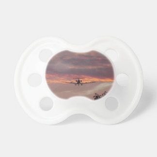 Commercial Jet Landing At Sunset Pacifier