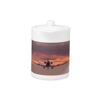 Commercial Jet Landing At Sunset