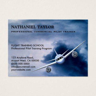 Commercial Jet Plane in the Sky Aviation Large Business Card