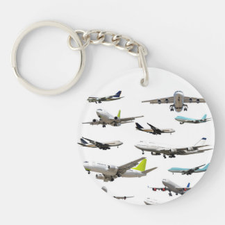 Commercial Jet Variety Pattern Keychain