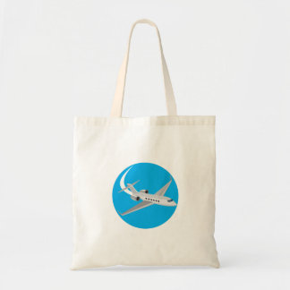 Commercial Light Passenger Airplane Circle Retro Budget Tote Bag