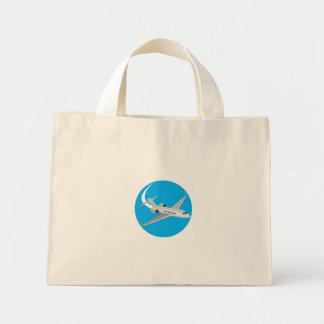 Commercial Light Passenger Airplane Circle Retro Mini Tote Bag