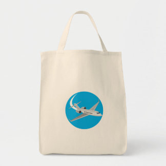 Commercial Light Passenger Airplane Circle Retro Grocery Tote Bag