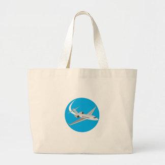 Commercial Light Passenger Airplane Circle Retro Jumbo Tote Bag