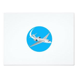 Commercial Light Passenger Airplane Circle Retro 17 Cm X 22 Cm Invitation Card