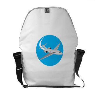Commercial Light Passenger Airplane Circle Retro Commuter Bags