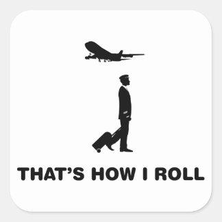 Commercial Pilot Square Stickers