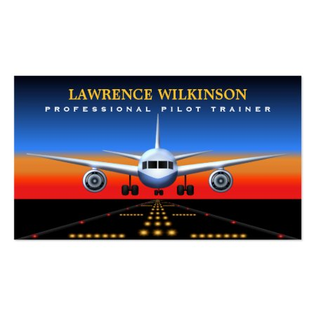 Cool Vibrant Commercial Plane Landing on the Runway At Night Airline Pilot Trainer Business Cards Template