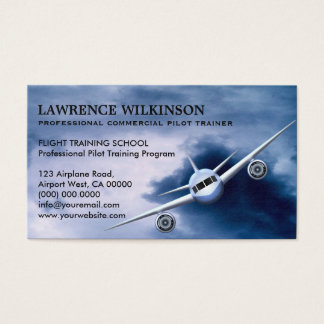 Commercial Plane in Sky Aviation Business Cards