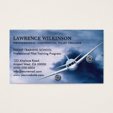 Professional Business Commercial Plane in Sky Aviation Business Cards
