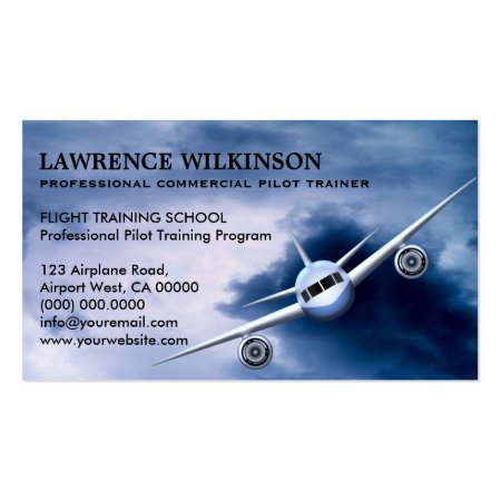 Commercial Plane Flying High in the Sky in the Clouds Aviation Business Cards Template