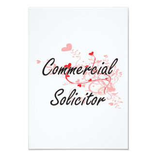Commercial Solicitor Artistic Job Design with Hear 3.5x5 Paper Invitation Card