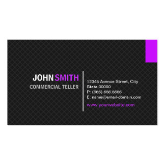 Commercial Teller - Modern Twill Grid Double-Sided Standard Business Cards (Pack Of 100)