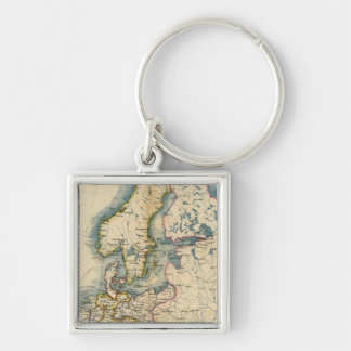 Commerciale Industrial Map of Europe Silver-Colored Square Keychain