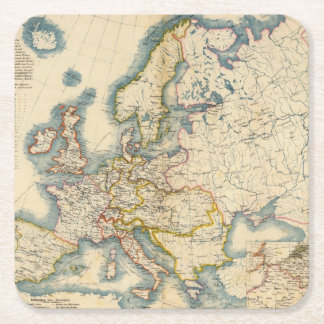 Commerciale Industrial Map of Europe Square Paper Coaster